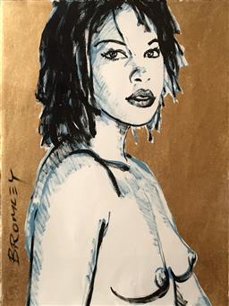 Sale 9249A - Lot 5032 - DAVID BROMLEY (1960 - ) Caroline mixed media on paper (unframed) 75 x 56 cm signed lower left
