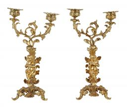 Sale 9245J - Lot 78 - A fine quality pair of French 19th century two branch candelabra with cherub mounts, H 28cm x W 17cm.