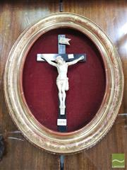Sale 8416 - Lot 1090 - Gilt Gesso Oval Frame, with incised decoration & mounted crucifix