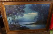 Sale 8474 - Lot 2075 - Framed Painting on Board Sydney Scene signed M.Boudan LR with Framed Painting on Canvas Blue Lake Scene signed Sanchez 70 LR (2)