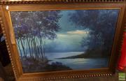Sale 8478 - Lot 2041 - Framed Painting on Board Sydney Scene signed M.Boudan LR with Framed Painting on Canvas Blue Lake Scene signed Sanchez 70 LR (2)