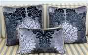 Sale 8562A - Lot 84 - Three decorative black and purple cutmoquette scatter cushions