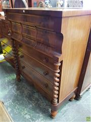 Sale 8576 - Lot 1096 - Victorian Scottish Mahogany Chest of Seven Drawers, the cantilever with one long & three deep moulded drawers, on barley twist suppo...