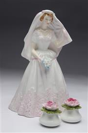 Sale 8698 - Lot 92 - Royal Doulton Figure Together with Pair of Floral Salt And Pepper Shakers