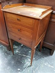Sale 8848 - Lot 1090 - French Inlaid Walnut Bedside Cabinet, with gallery back & three drawers on tapering legs