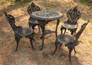 Sale 8871H - Lot 62 - A cast iron black five piece outdoor setting