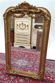 Sale 9085 - Lot 1025 - French Style Gilt Overmantle Mirror, with heavily moulded frame, surmounted by a shell & festoons (H:150 x W:86cm)