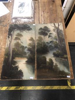 Sale 9152 - Lot 2057E - pair of early C20th Australian Landscape Paintings (unframed) ,56 x 28 cm -
