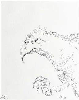 Sale 9249A - Lot 5036 - ADAM CULLEN (1965 - 2012) Vulture, 2010 pen and ink on paper 33 x 27 cm (frame: 50 x 45 cm) initialled lower left, dated lower right
