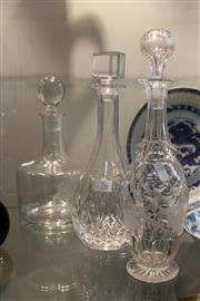 Sale 8306 - Lot 76 - Crystal Etched Decanter with 2 Other Decanters