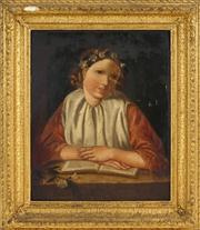 Sale 8449A - Lot 600 - C19th European School - Portrait of a Woman with Book 37 x 30cm