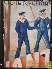Sale 8493 - Lot 1092 - Early C20th Dutch School - Dutch Sailors 124.5 x 87cm