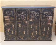 Sale 8550H - Lot 36 - A black Japanese sideboard with doors repurposed from a four panelled folding screen with a traditional Japanese scene made with inl...