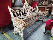 Sale 8559 - Lot 1054 - Cast Iron Coalbrookdale Style Gothic Garden Bench, with fine lace-work back, no mark found