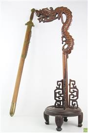 Sale 8568 - Lot 17 - Asian Sword & Oriental Table Lamp Base (Small Crack)