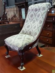 Sale 8585 - Lot 1719 - Victorian Mahogany Slipper Chair, upholstered in a cream diaper fabric, with carved brackets & cabriole legs