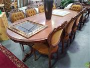Sale 8601 - Lot 1397 - Italian Style 9 Piece Dining inc 8 Chairs and Inlayed Twin Pedestal Table (80 x 240 x 121cm)