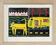 Sale 8716 - Lot 2012 - Clinton Cross - Dog & Truck, 2006 17 x 12cm, each (frame: 27 x 34cm)
