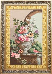 Sale 8804A - Lot 134 - A gilt framed tapestry with vase and flower motif, overall 128cm x 91cm