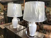 Sale 8822 - Lot 1545 - Pair of Old World Design Cream Oval Table Lamps (3241)