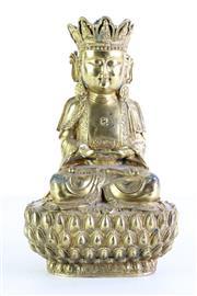 Sale 8972 - Lot 69 - Gilded Bronze Buddha Seated Cross Legged On Lotus Pedestal H: 29cm