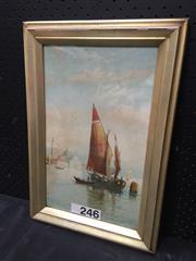 Sale 9050 - Lot 2067 - Artist unknown, Boats in Venice, decorative print, 47 x 32 cm