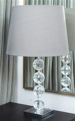 Sale 9150H - Lot 78 - A pair of perspex ball column table lamps, total height 78cm