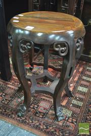 Sale 8317 - Lot 1007 - Antique-Style Chinese Rosewood Circular Stool with cabriole legs with Ruyi style feet and brackets (some faults to brackets)