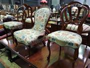Sale 8657 - Lot 1013 - Victorian Mahogany Ladies Chair with Tapestry Style Upholstery Together with Matching Pair of Balloon Back Chairs (3)