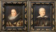 Sale 8686 - Lot 2010 - Mario Calzolari  (2 works): C16th Portraits of Italian Nobles, oils on canvas, 45 x 39.5cm (frame), each signed lower