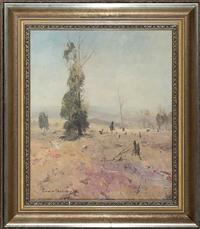 Sale 8735 - Lot 3 - Lance Solomon, The Solitary Tree, Oil on board, signed lower left, circa 1950, 52cm x 44cm