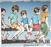 Sale 9034A - Lot 5070 - David Bromley (1960 - ) - Kids on the fence 81.5 x 88 cm (111 x 120 x 2 cm)