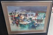 Sale 9053 - Lot 2035 - Giovanelli, Harbour, watercolour, 73 x 92 cm, signed lower left