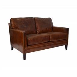 Sale 9250T - Lot 8 - A vintage aged leather styled 2 seater sofa with a high back and straight arms, with brass stud detailing. Height 87cm x Width 126cm...