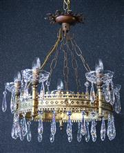 Sale 8444A - Lot 99 - A grand an impressive solid brass and crystal 5 arm chandelier of circular ecclesiastical form, featuring the finest Swarovski cryst...