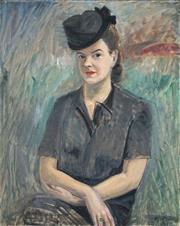 Sale 8459 - Lot 597 - Gideon Börje (1891 - 1965) - Sophie Fellenius, c1945 81 x 65.5cm
