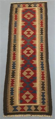 Sale 8445K - Lot 68 - Maimana Afghan Kilim Runner , 200x60cm, Handwoven in Northern Afghanistan using durable local wool. Traditional and reversible slit...