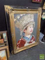 Sale 8471 - Lot 2055 - Artist Unknown (XX)  Portrait of a Young Chinese Girl in Costume, acrylic on canvas,75 x 101cm, unsigned
