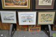 Sale 8487 - Lot 2010 - 3 Artworks: M. Govey, Cloud over Flinders; A. Collins, Cape Town Harbour; D. Payne; all Watercolours, various sizes