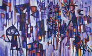 Sale 8504 - Lot 516 - Judi Singleton (1963 - ) - Purple Scene (diptych) 73 x 60.5cm, each (overall: 73 x 121cm)