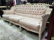 Sale 8580 - Lot 1006 - French Style Carved Three Seater Lounge with Button Back Upholstery (W: 200cm)