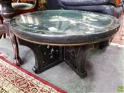 Sale 8580 - Lot 1076 - Oriental Inlaid Coffee Table with Glass Top