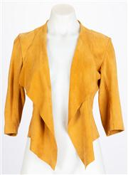 Sale 8640F - Lot 81 - A cropped suede jacket in mustard yellow, size medium.