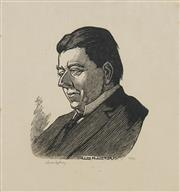 Sale 8753 - Lot 2013 - Lionel Lindsay - Christopher Brennan 17 x 15cm