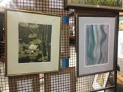 Sale 8752 - Lot 2097 - 2 Works: Artist Unknown - Waterlilies, watercolour, SLR with J.Budgette - Figure Study, pastel -