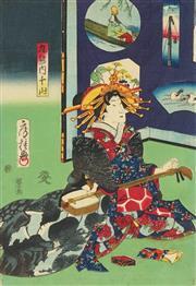 Sale 8777A - Lot 5023 - Fustane (Fusatani) Utagawa (active c1850s - 1880s) - 36 x 24cm (frame: 53 x 42cm)