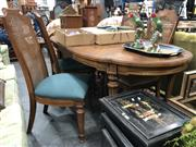 Sale 8822 - Lot 1802 - Timber Five Piece Dining Setting incl. Extension Table and Four Rattan Back Chairs