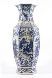 Sale 9010 - Lot 38 - A Large Hexagonal Chinese Blue And White Vase, Decorated With Flowers And A River Scene (H:63cm)