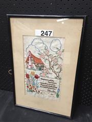 Sale 9053 - Lot 2057 - Artist Unknown, Victorian needlework sampler, 47 x 32 cm
