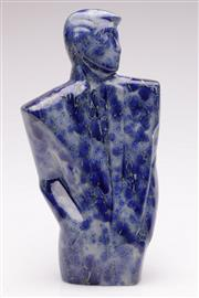 Sale 9052 - Lot 98 - A Blue Crack Glazed Ceramic Bust of a Man - repairs to neck (H:33cm)